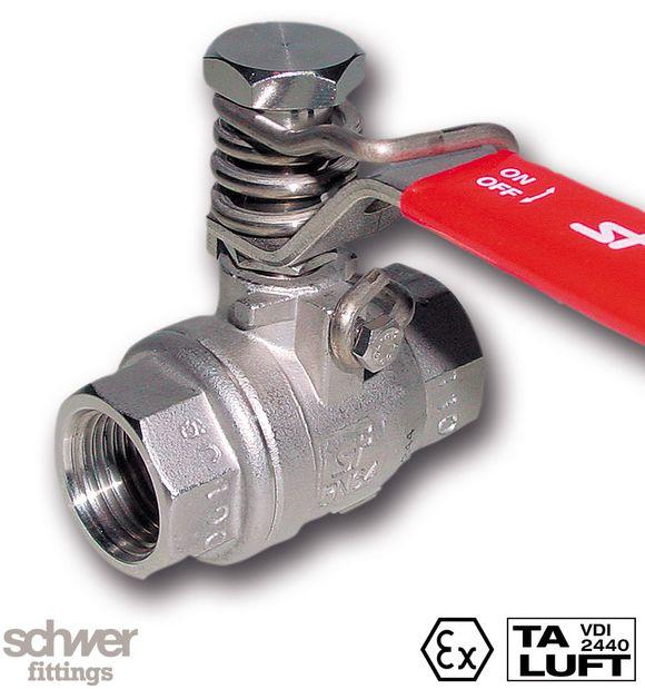 2-teiliger Muffenkugelhahn - offener Durchgang, mit zylindrischem Whitworth-Rohrgewinde nach EN ISO 228-1, mit Rückstellfeder