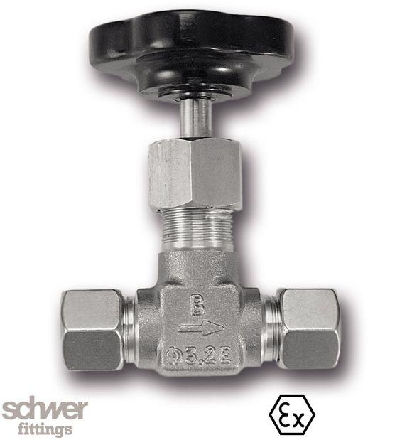 Hochdruck-Absperrventil - mit Schneidringanschluß nach EN ISO 8434-1 (DIN 2353), mit innenliegendem Spindel-Verstellgewinde