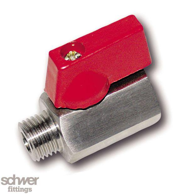 Mini-Kompaktkugelhahn - aus Sechskant-Feinguß, reduzierter Durchgang,  innen und außen mit zylindrischem Whitworth-Rohrgewinde nach EN ISO 228-1