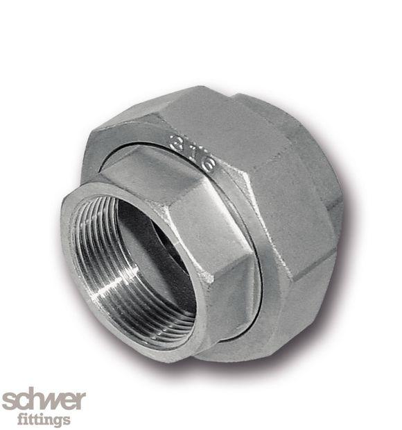 Verschraubung, beidseitig Innengewinde - Verschraubung flach dichtend, mit zylindrischem Whitworth-Rohrgewinde nach DIN EN 10226 / ISO 7-1