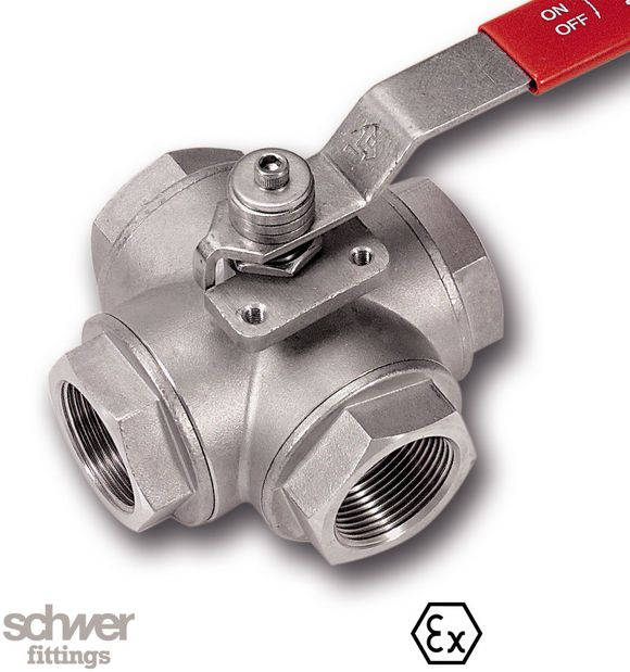 4-Wege-Kugelhahn - Schaltweg 90°, mit Flanschanschluß für Stellantriebe nach DIN/ISO 5211, mit zylindrischem Whitworth-Rohrgewinde nach DIN/ISO 228