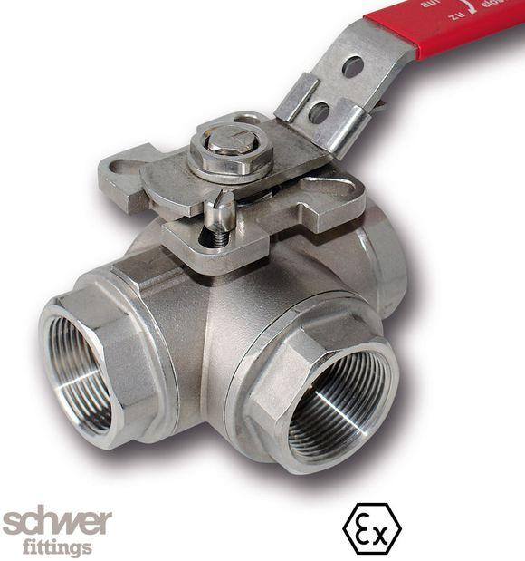 3-Wege-Kugelhahn - mit L- oder T-Bohrung, Schaltweg 90°, mit Flanschanschluß für Stellantriebe nach DIN/ISO 5211