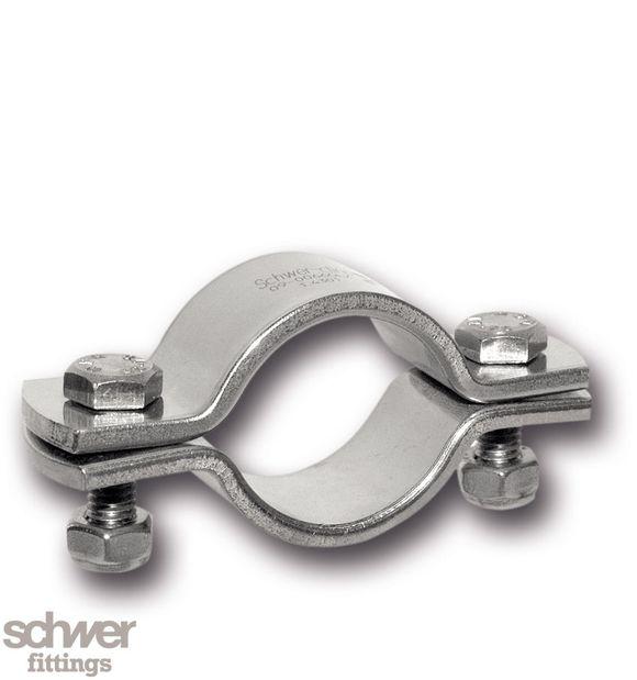 Rohrschelle für Lebensmittelrohre, poliert - für Rohr nach DIN EN 10357, DIN 11866, ohne Schaft