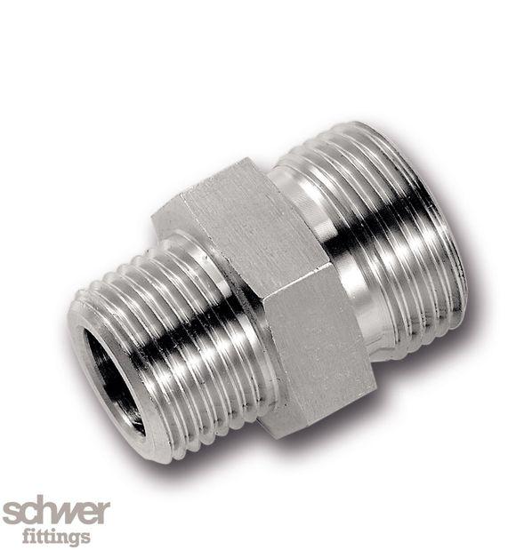 Einschraubstutzen - beidseitig mit 60°-Konus, mit zylindrisch. Whitworth-Rohrgewinde nach EN ISO 228-1, kegeliges Einschraubgewinde BSPT nach DIN 3858