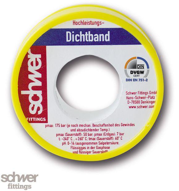 """Hochleistungs-Dichtband - mit DVGW-Zulassung. Bandverpackung weiß/gelb. Besonders """"hochdichtes"""" Band aus PTFE."""