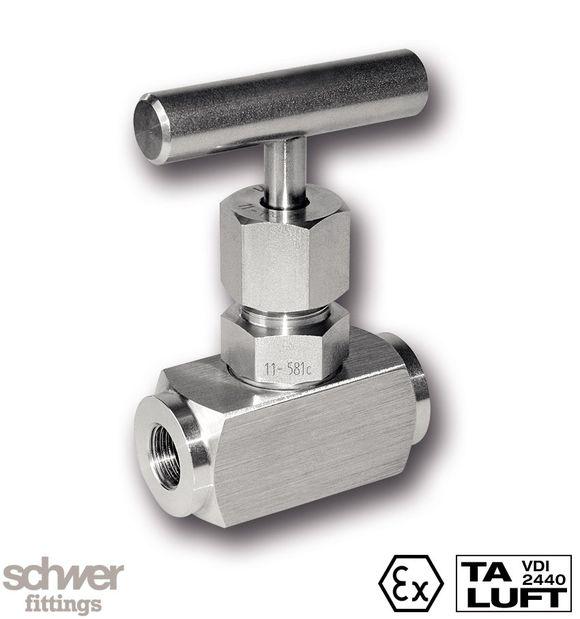 Nadelventil mit T-Griff - mit zylindrischem Whitworth-Rohrgewinde nach EN ISO 228-1, mit innenliegendem Spindel-Verstellgewinde