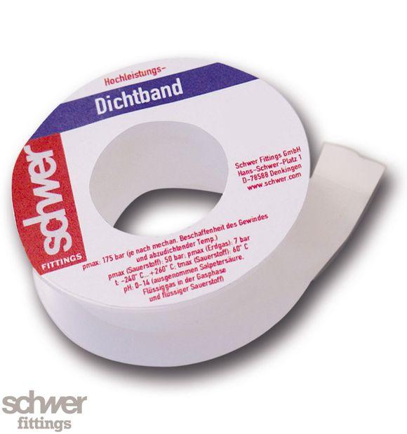 """Hochleistungs-Dichtband - ohne DVGW-Zulassung. Bandverpackung weiß/weiß. Besonders """"hochdichtes"""" Band aus PTFE."""