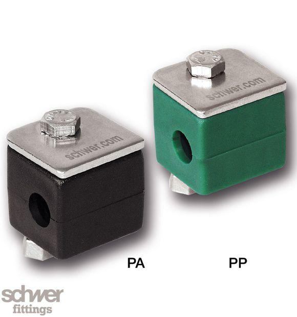 Rohrschelle, leichte Baureihe, Komplettausführung - SK-Schrauben, Deckplatte, Schellenhälften, Tragschienenmutter