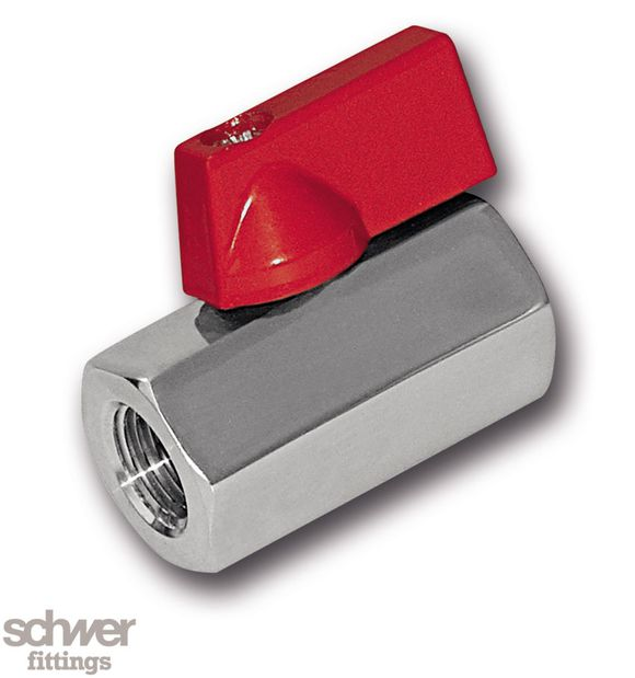 Mini-Kompaktkugelhahn - aus Sechskant-Feinguß, reduzierter Durchgang, mit zylindrischem Whitworth-Rohrgewinde nach EN ISO 228-1