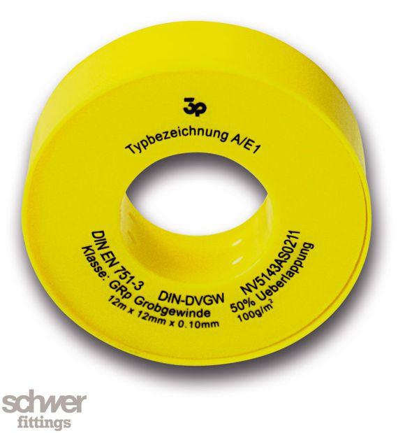 """Hochleistungs-Dichtband - Golden Seal Tape, Bandverpackung gelb/gelb. Besonders """"hochdichtes"""" Band aus PTFE."""