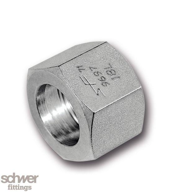 Bördel-Überwurfmutter - mit zylindrischem, metrischem Gewinde nach DIN 13, passend auf Gewindezapfen nach DIN 3853 mit 24° Innenkonen
