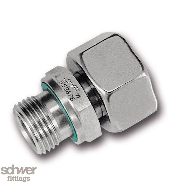 Einstellbare Einschraubverschraubung - mit zylindrischem Whitworth-Rohrgewinde nach EN ISO 228-1, Schneidring vormontiert, Weichdichtring