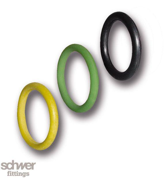 O-Ring - für Öl FKM (Viton) (grün), für Wasser EPDM (schwarz), für Gas HNBR (gelb)