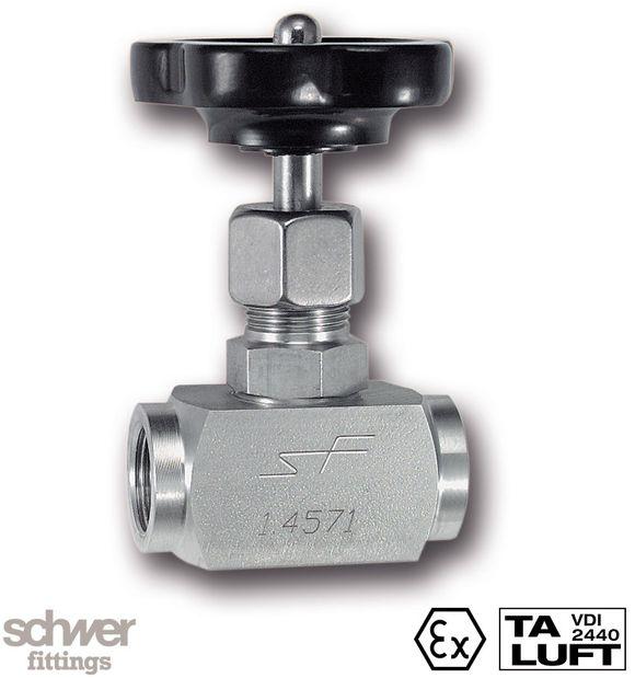 Nadelventil - mit zylindrischem Whitworth-Rohrgewinde nach EN ISO 228-1, mit innenliegendem Spindel-Verstellgewinde